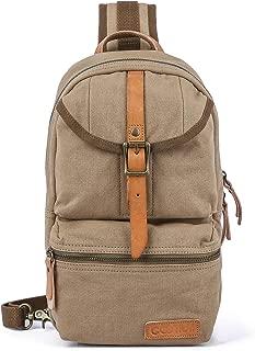 Khaki Sling Bag - Canvas Crossbody Daypack