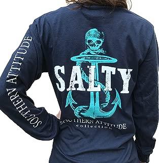 Salty Pirate Anchor Navy Blue Women's Long Sleeve Shirt