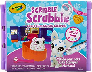 Crayola Scribble Scrubbie Pets Tattoo Shop, Toy Pet Playset, Gift for Kids, Age 3, 4, 5, 6