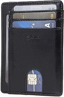 SIGLO® Tarjetero para Hombre Minimalista con Bloqueo RFID — Cartera Delgada de Piel para Caballero — Disponible en 3 Colores: Negro, Azul, y Café — Slim Minimalist Card Holder Wallet for Men — RFID Blocking