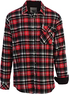 Men's 100% Cotton Brushed Flannel Plaid Checkered Shirt with Corduroy Contrast