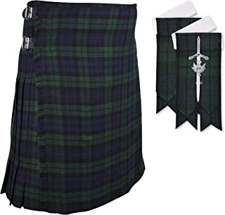 Scottish Black Watch 8 yard Tartan KILT with FREE GIFT of FLASHES & KILT PIN