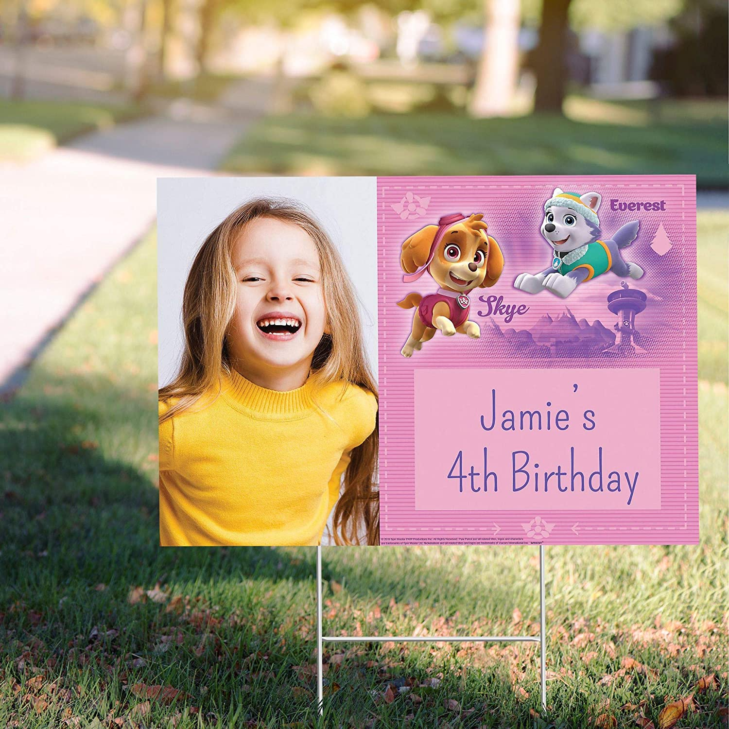 San Francisco Mall Party City Brand new Custom Pink Paw Photo Personalized Sign Patrol Yard