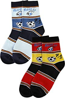 Weri Spezials, doble Pack 7: 1 Fan calcetín la increíble fussballgeschichte. Rot/Gold - h.Blau/Jeans Medium