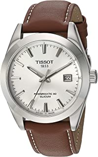 Mens Gentleman Swiss Automatic Stainless Steel Dress Watch (Model: T1274071603100)