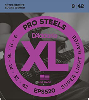 DAddario EPS520 ProSteels Electric Guitar Strings, Super Light, 9-42