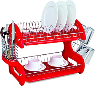 Home Basics Plastic 2-Tier Dish Drainer Rack, Air Drying...