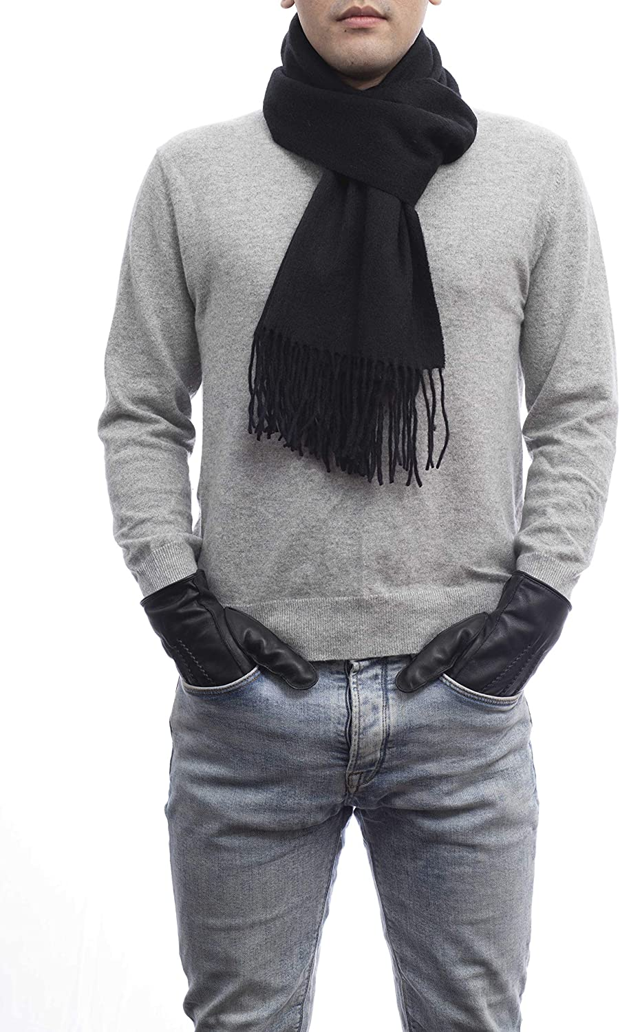 Mens Suede Grip and Touch Screen Gloves /& Check Scarf Gift Set #68