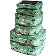 Compression Packing Cubes for Travel Color Green Cactus for Kids LeanTravel Set of 6 Double Zipper