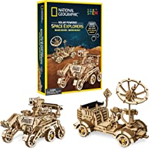 NATIONAL GEOGRAPHIC Solar Model Kit – Build 2 Solar Powered Wooden 3D Puzzle Models of Real NASA Space Explorers, Craft Ki...