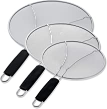 "U.S. Kitchen Supply 13"", 11.5"", 9.5"" Stainless Steel Fine Mesh Splatter Screen with Resting Feet Set, Black Comfort Grip Handles - Use on Boiling Pots, Frying Pans - Grease Oil Guard, Safe Cooking Lid"