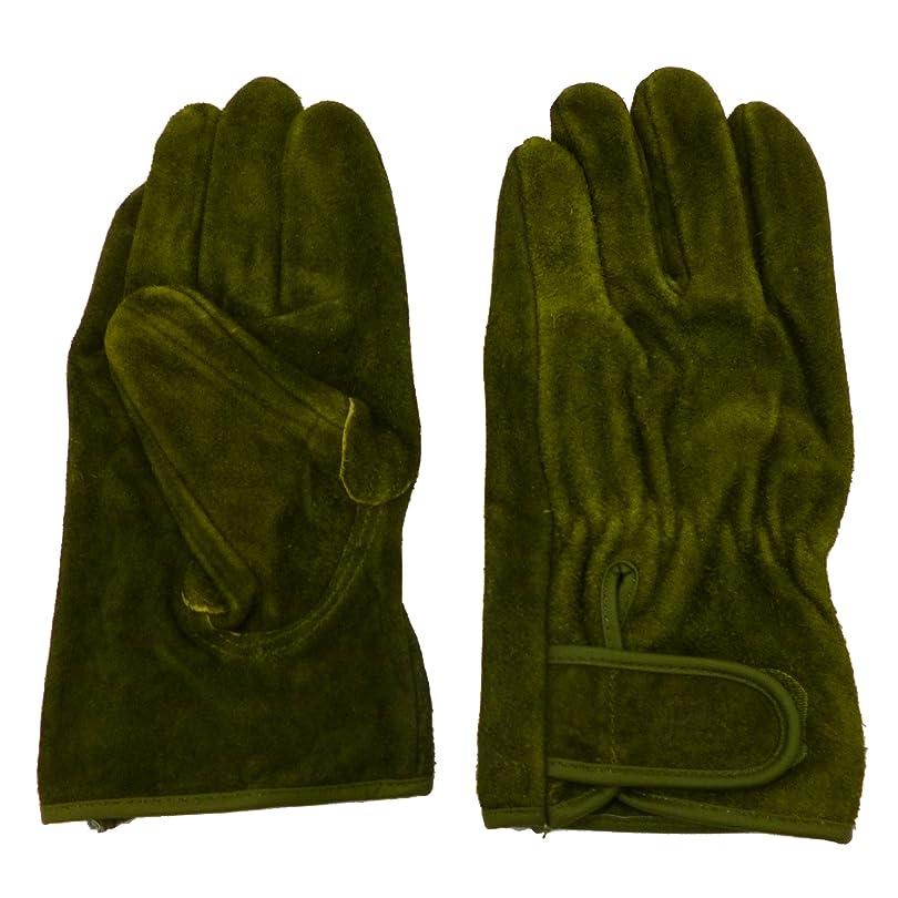 を除く有名人保守可能ユニワールド A級牛床革オイルオリーブマジック革手袋 Mサイズ KS-866 [洗えるソフトオイル加工]