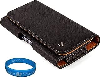Black Textured Leather Protective Holster Carrying Case (Horizontal) for Verizon Motorola Droid RAZR MAXX HD / Motorola Droid RAZR HD Android Smartphones + SumacLife TM Wisdom Courage Wristband