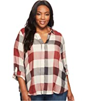 B Collection by Bobeau - Plus Size Woven Plaid Blouse