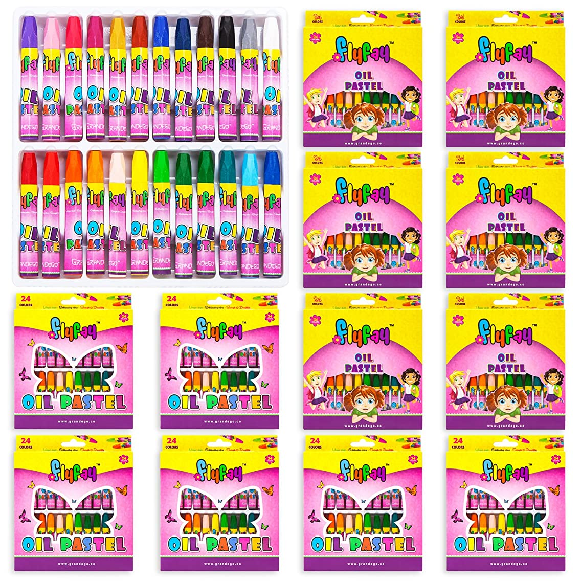 Flyfay 24 Oil Pastel Art Set   Bulk Pack of 12 Set, Children's Coloring Supplies with Tapered Points, Hexagonal Shape and Brilliant Colors - 24 Durable Artists Pastels
