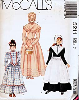 McCall's 5211 Puritan, Colonial, Prairie Dress, Apron and Bonnet Sewing Pattern Girl's Size 7
