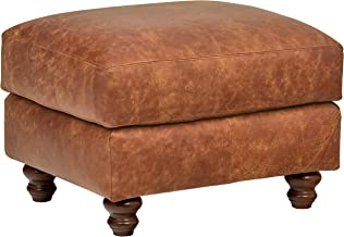 Stone & Beam Charles Classic Oversized Leather Ottoman, 31W, Saddle Brown