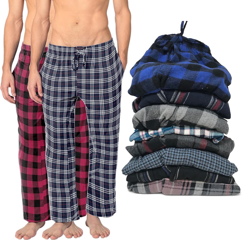 Andrew Scott Men's 100% Cotton Super Soft Flannel Plaid Pajama Pants- 2 Pack