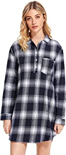 Image of Long Sleeve Short Plaid Flannel Night Shirt for Women - See More Colors