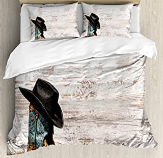 Ambesonne Western Duvet Cover Set, Traditional Rodeo Cowboy Hat and Cowgirl Boots Retro Grunge Background Art Photo, Decorative 3 Piece Bedding Set with 2 Pillow Shams, Queen Size, Brown Black