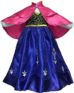 Girls Anna Dress Costume with Double Layer Frozen Princess Cape Cloak