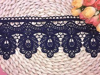 幅:9cm  弾力なし、花モチーフ付刺繍入りレース、アクセサリー         テーブル掛け、カーテン、ウェディングドレス、DIY、服装装飾(1バック2ヤード)に適用すること。 (濃い青色)