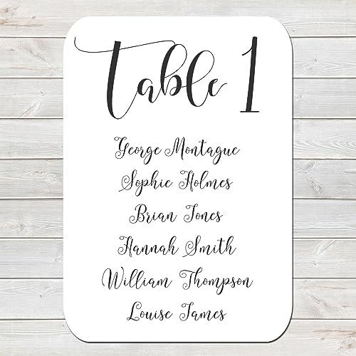 Wedding Chart | Wedding Table Numbers Amazon Co Uk