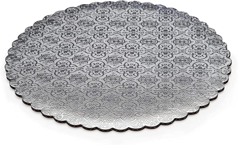 W PACKAGING WPSCC14 14 Silver Scalloped Edge Cake Circle C Flute Corrugated With Coated Embossed Foil Paper Pack Of 100