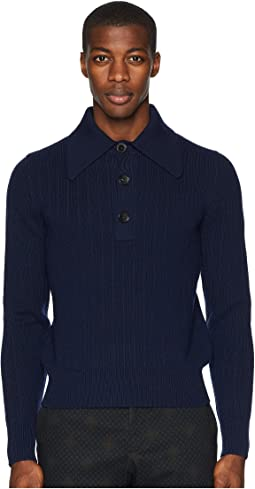 Retro Long Sleeve Polo Sweater