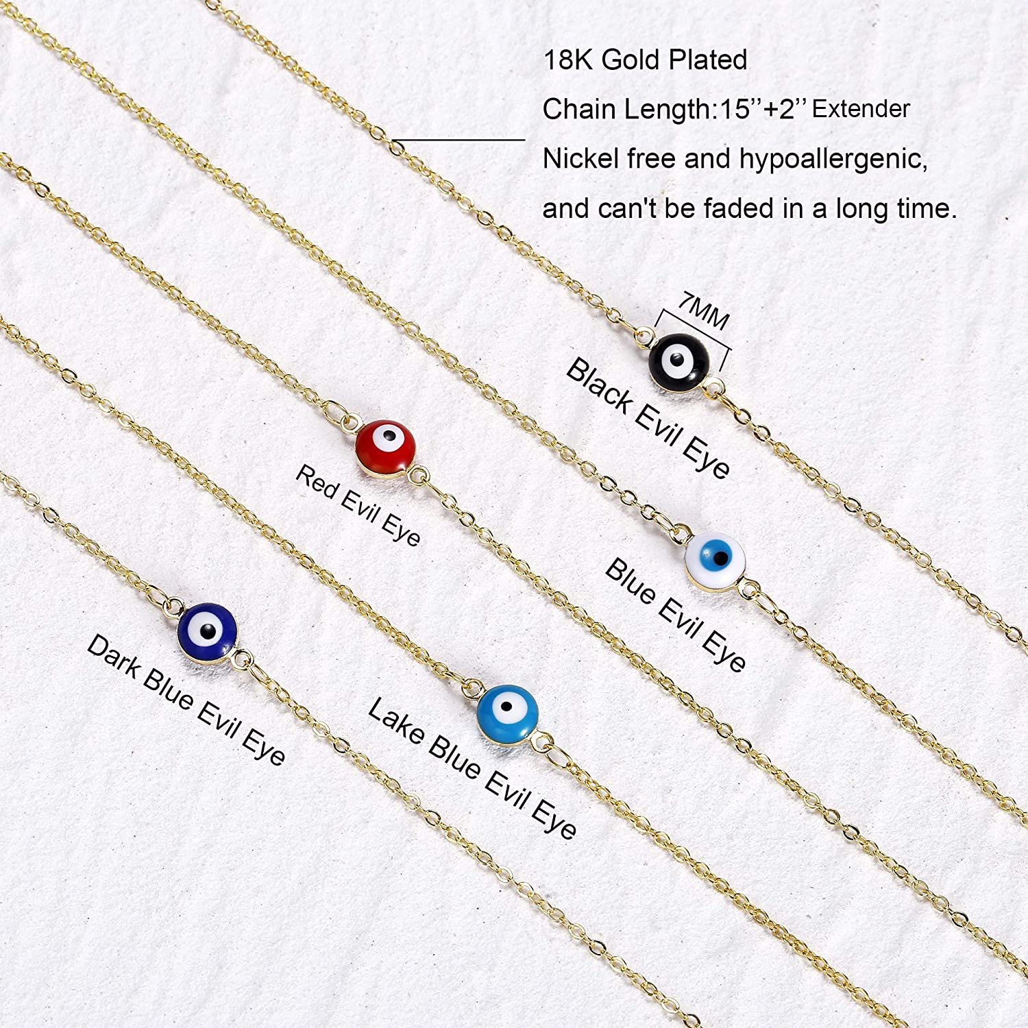Tasiso 18K Gold Plated Evil Eye Choker Necklace Boho Simple Chain Necklace Cute Tiny Colorful Evil Eye Turkish Protection Choker Necklace for Women Teen Girls