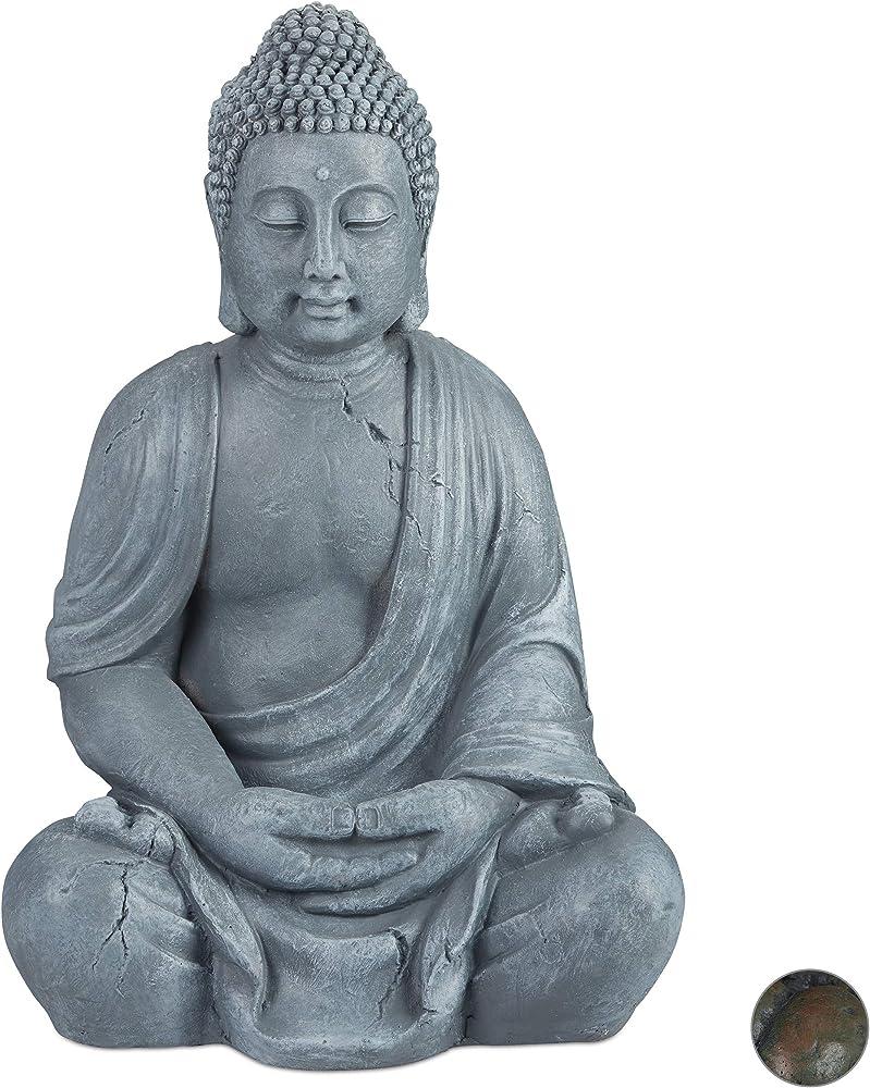 design toscano, statua del buddha seduto,  66 cm, in poliresina, impermeabile anti-gelo