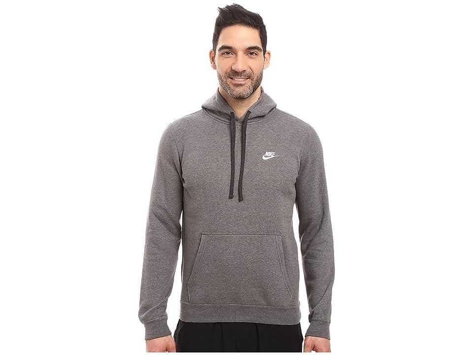 Nike Club Fleece Pullover Hoodie (Charcoal Heather/Charcoal Heather/White) Men