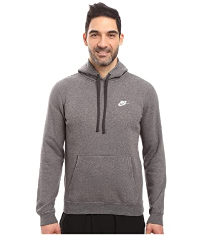 Nike Club Fleece Pullover Hoodie (Charcoal Heather/Charcoal Heather/White) Men