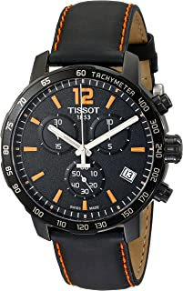 Men's T0954173605700 Quickster Chronograph Analog-Display Swiss Quartz Black Watch