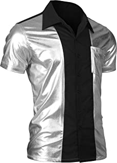 JINIDU Mens Disco Shirt Costume Short Sleeve Button Down Fashion Party Shirt Shiny Metallic Nightclub Bowling Shirt