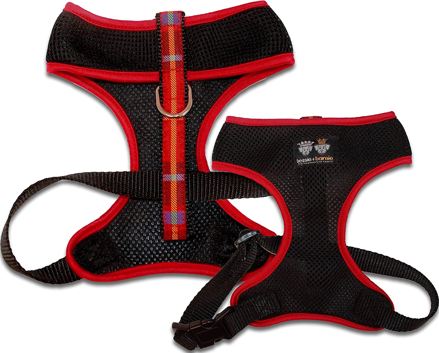 BESSIE AND BARNIE Air Comfort Harness for Pets, XSmall, Black Crimson Plaid Red