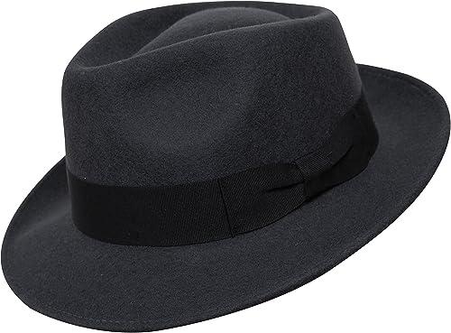 Borges & Scott B&S Premium Doyle – Sombrero de lágrima Fedora - 100% Fieltro de Lana - Enrollable para Viajes - Resis...