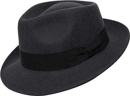 Borges   Scott B S Premium Doyle - Teardrop Fedora Hat - 100% Wool Felt - 69e52bdf1088