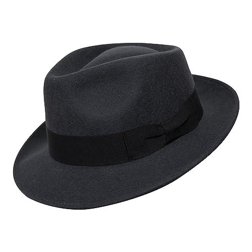 B S Premium Doyle – Sombrero de lágrima Fedora - 100% Fieltro de Lana -  Enrollable e14fd8f9dc4