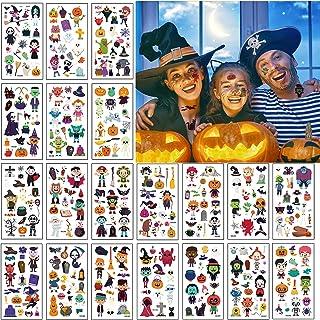 20 Vellen Halloween Tijdelijke Tatoeages, EBANKU Waterdichte Kinder Cartoon Stickers Met Schattig Skelet Uil Pompoen Heks ...