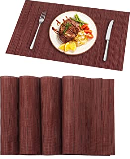 Pauwer Red Christmas Placemats Set of 6 for Dining Table Heat Resistant Woven Vinyl Placemats Wipe Clean