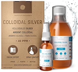 Highest Purity Colloidal Silver 300mL ● 40 PPM ● Free Spray to Fill ● Superior Concentration, Smaller Particles, Better Results ● Certified by 3 Independent Laboratories ● Institut Katharos