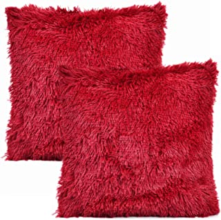 YOUR SMILE Pack of 2, Christmas Decorative New Luxury Series Merino Style Faux Fur Throw Pillow Case Cushion Cover 18