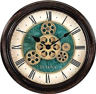 Bulova Relógio de parede com movimento industrial, 12,8, preto envelhecido