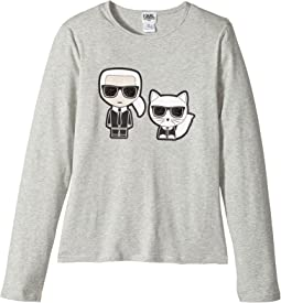 Karl Lagerfeld Kids - Long Sleeve Tee with Karl/Choupette Graphic (Big Kids)