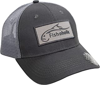 Fishoholic Trucker Hat Snapback Baseball Hat w 3D Rubber Logo on Patch Fish Logo & Bend Your Rod on Back of Snap Back ~ Fishaholic Reg(TM) ~ Great Gift to Hunt Quad Country in Ocean Saltwater Fly Bass
