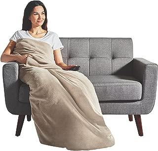 Sunbeam Heated Throw Blanket   Dual Pocket Microplush, 3 Heat Settings, Oatmeal - 31160302
