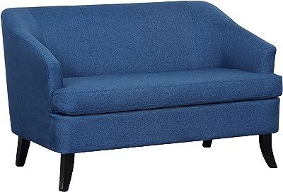"Major-Q 32"" H Contemporary Style Modern Blue Linen Fabric Wooden Leg Loveseat Sofa (USPS5231)"