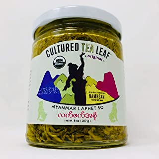 USDA Certified Organic 'Laphet So' EDIBLE TEA LEAF DELICACY hand-made with Extra Virgin Olive Oil--Cultured Tea Leaf brand--Burmese ORIGINAL PLAIN (Vegan, Gluten-free, Keto, Paleo) Myanmar Burma