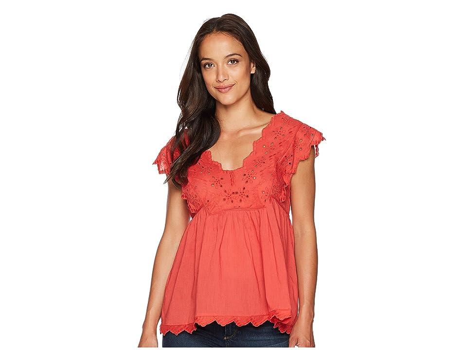 Lucky Brand Eyelet Tank Top (Poppy Red) Women's Short Sleeve Pullover